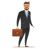 Hombre de negocios con una maleta en su mano Imágenes de archivo libres de regalías
