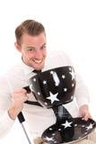Hombre de negocios con una taza de café enorme Fotos de archivo libres de regalías
