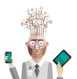 Hombre de negocios con vector de las ideas del uso Imagen de archivo libre de regalías