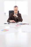 Hombre de negocios confiado en el trabajo. Imagen de archivo