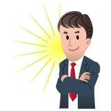 Hombre de negocios confidente con el brazo cruzado stock de ilustración