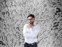 Hombre de negocios confuso pensativo Imágenes de archivo libres de regalías
