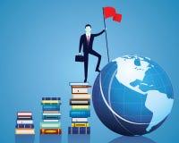 Hombre de negocios Conquer Obstacle, reglas el mundo con conocimiento stock de ilustración