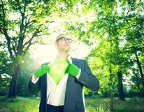 Hombre de negocios conservador Running Green Business Foto de archivo