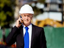 Hombre de negocios At Construction Site Fotografía de archivo