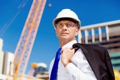 Hombre de negocios At Construction Site Imagen de archivo libre de regalías