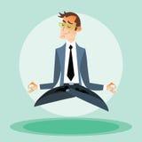 Hombre de negocios contratado a yoga Imágenes de archivo libres de regalías