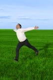 Hombre de negocios corriente en el prado Foto de archivo