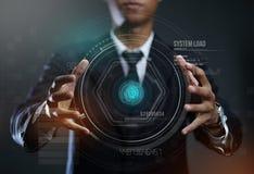 Hombre de negocios Creating Circle HUD Hologram fotografía de archivo