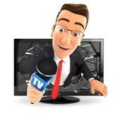 hombre de negocios 3d con el micrófono que sale de la televisión Fotografía de archivo libre de regalías