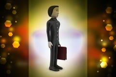 hombre de negocios 3d con la cartera Imagenes de archivo