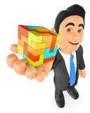 hombre de negocios 3D con un cubo Cree el concepto libre illustration