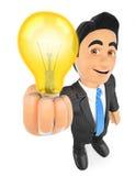 hombre de negocios 3D con una bombilla encendida Concepto de la idea Imágenes de archivo libres de regalías
