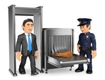 hombre de negocios 3D en el control de la policía del aeropuerto ilustración del vector