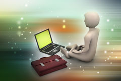 hombre de negocios 3d en la meditación Imagen de archivo libre de regalías