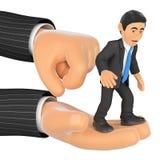 hombre de negocios 3D encima de una mano gigante encendido Imagen de archivo libre de regalías