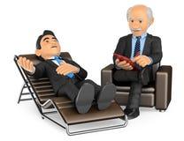 hombre de negocios 3D que consulta al psicólogo Foto de archivo libre de regalías