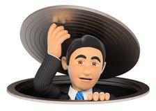 hombre de negocios 3D que deja una alcantarilla Metáfora del asunto ilustración del vector