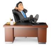 hombre de negocios 3D que descansa en oficina Imágenes de archivo libres de regalías