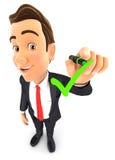 hombre de negocios 3d que dibuja la marca de verificación positiva libre illustration