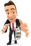 hombre de negocios 3d que dobla abajo para coger el billete de dólar Fotografía de archivo libre de regalías