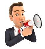 hombre de negocios 3d que habla en el megáfono ilustración del vector