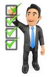 hombre de negocios 3D que llena una lista de verificación Foto de archivo