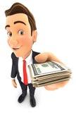 hombre de negocios 3d que lleva a cabo una pila de billetes de dólar Imágenes de archivo libres de regalías
