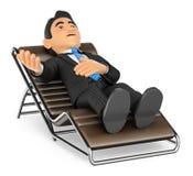 hombre de negocios 3D que miente en un discurso del diván Imagen de archivo libre de regalías