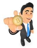 hombre de negocios 3D que muestra un bitcoin Imagen de archivo libre de regalías