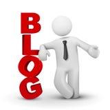 hombre de negocios 3d que presenta concepto del blog de la palabra Imagen de archivo