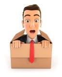 hombre de negocios 3d que sale de la caja Fotografía de archivo