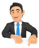 hombre de negocios 3D que señala abajo con el finger Imagenes de archivo
