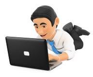 hombre de negocios 3D que se acuesta con un ordenador portátil Foto de archivo libre de regalías