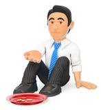 hombre de negocios 3D que se sienta en el piso que pide dinero Imagen de archivo libre de regalías
