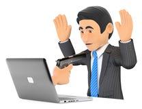 hombre de negocios 3D que sufre un robo digital Ransomware Imagen de archivo