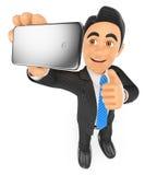 hombre de negocios 3D que toma un selfie con el teléfono móvil Imagen de archivo libre de regalías