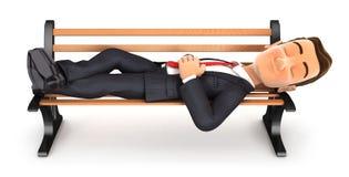 hombre de negocios 3d que toma una siesta en banco público Imagenes de archivo