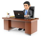 hombre de negocios 3D que trabaja en la oficina con su ordenador portátil Imagen de archivo