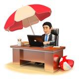 hombre de negocios 3D que trabaja en su oficina en la playa Imagen de archivo
