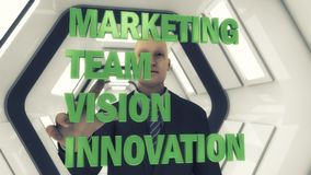 hombre de negocios 3d y el márketing de la palabra en un fondo futurista Imagenes de archivo