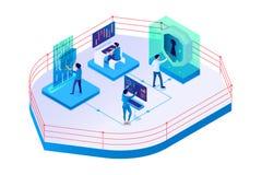 hombre de negocios 3d y empresaria isométricos en seguridad de sistema libre illustration