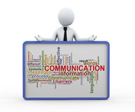 hombre de negocios 3d y etiquetas de la palabra de la comunicación libre illustration