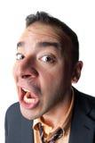 Hombre de negocios dado una sacudida eléctrica Foto de archivo