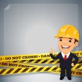 Hombre de negocios With Danger Tapes Imagen de archivo