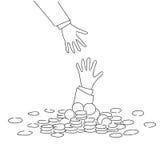 Hombre de negocios de ayuda From Coin Heap de la mano del negocio financiar concepto de la crisis de la quiebra del fall Foto de archivo libre de regalías