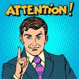 Hombre de negocios de la atención que señala el finger Imágenes de archivo libres de regalías