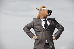 Hombre de negocios de la cabeza de caballo Fotografía de archivo