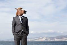 Hombre de negocios de la cabeza de caballo Foto de archivo libre de regalías