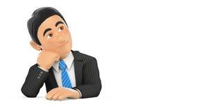 hombre de negocios de la cantidad de la animación 3D que piensa con el fondo blanco stock de ilustración